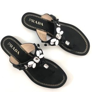 PRADA JEWEL/BEADED THONG SANDALS SIZE 37.5 ITALY